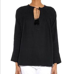 Isabel Marant Vicky Embroidered Black Peasant Top